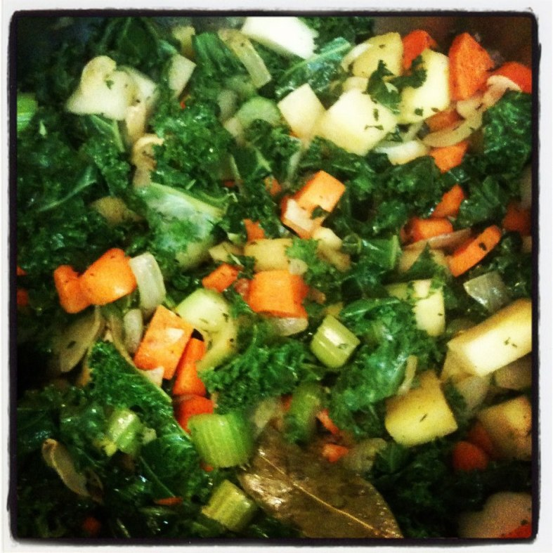 All my veggies ready to bathe in broth.