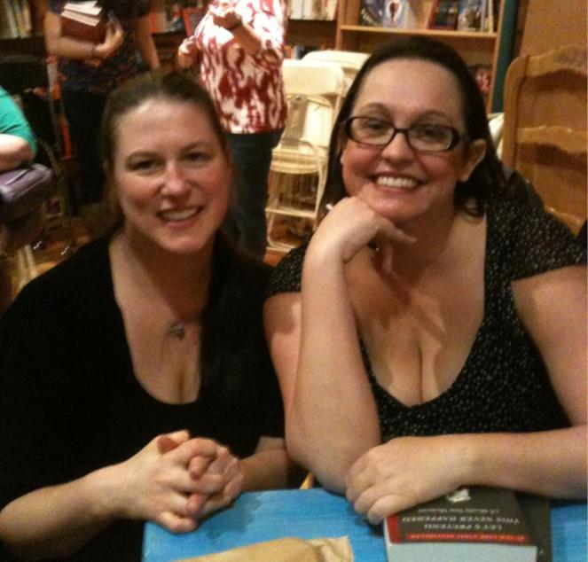 I fought back the fangirl that night, thanked her for following me on Twitter and then posed.  And then sent Rachael back later because I couldn't pull it together to go back and ask her to sign my Nook holder (which she has the very same one!)